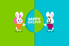 Rabbit Bunny Couple Colorful Eggs Happy Easter Holiday Banner Greeting Card Royalty Free Stock Photo
