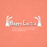 Rabbit Bunny Couple Happy Easter Holiday Banner Sketch Eggs Stock Photos