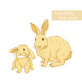 Rabbit and bunny Stock Photo