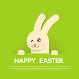 Rabbit Bunny Happy Easter Holiday Banner Greeting Card Green Background. Flat Vector Illustration Stock Photography