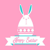 Rabbit Bunny Happy Easter Holiday Banner Pink Greeting Card Flat Stock Photo
