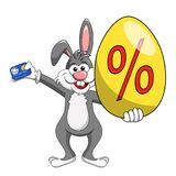 Rabbit or bunny holding discount or off big egg and credit card. For easter sale isolated on white Royalty Free Stock Images