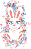 Rabbit with butterflies Royalty Free Stock Image
