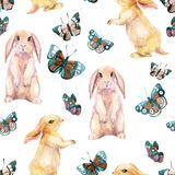 Rabbit and butterflies. Watercolor seamless pattern Royalty Free Stock Photos