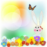 Rabbit with the butterfly Stock Photos