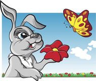 Rabbit with butterfly cartoon vector Stock Images