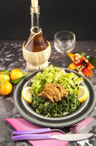 Rabbit cacciatore with spinach Royalty Free Stock Photos