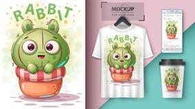 Rabbit cactus - mockup for your idea vector illustration