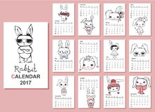 Rabbit Calendar 2017. Calendar 2017. Cute rabbits for every month. Vector. Isolated Stock Image