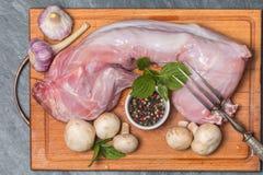 Rabbit carcass,  garlic, onion, pepper and mushrooms Stock Photos