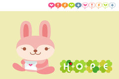 Rabbit card. Cute rabbit holding love letter stock illustration