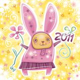 Rabbit card series 2. Happy New Year theme: Vector card with cute little rabbit girl celebrating New Year, holding flower and 2011 sign. Swirl background with Royalty Free Stock Photo
