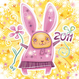 Rabbit card series 2. Happy New Year theme: Vector card with cute little rabbit girl celebrating New Year, holding flower and 2011 sign. Swirl background with Stock Image