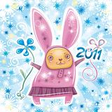 Rabbit card series 3. Happy New Year theme: Vector card with cute little rabbit girl celebrating New Year, holding flower and 2011 sign. Swirl background with Royalty Free Stock Images
