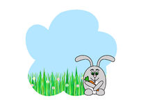 Rabbit with carrot. Grey rabbit with carrot in front of blue sky and grass Royalty Free Stock Photo