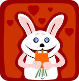 Rabbit and carrot. The rabbit with carrot on a red background with hearts. Illustration for Valentine's Day Stock Photos