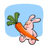 Rabbit and carrot - 2 Royalty Free Stock Photo
