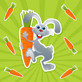 Rabbit with carrot Royalty Free Stock Images
