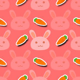 Rabbit carrot background. Pink rabbit with carrot seamless background royalty free illustration