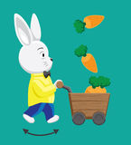 Rabbit Carrot Cart Vector Illustration Stock Photo