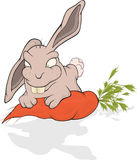 Rabbit and a carrot. Cartoon Royalty Free Stock Photo