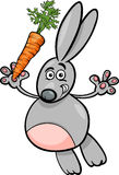 Rabbit with carrot cartoon illustration Stock Photo