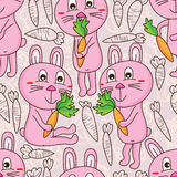 Rabbit carrot happy seamless pattern Royalty Free Stock Photo