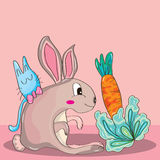 Rabbit and Carrot Stock Image