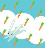 Rabbit and a carrot rain Stock Image