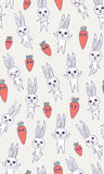Rabbit carrot seamless pattern. Seamless vector pattern - rabbits and carrots with different expressions Stock Illustration