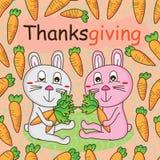 Rabbit carrot thanksgiving frame card seamless pattern Stock Image