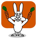 A rabbit with carrots on background orange Stock Image