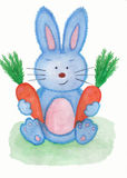 Rabbit with 2 carrots watercolor painting. Hand drawn watercolor painting of cool rabbit with two carrots in his hands Royalty Free Stock Photo