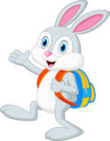 Rabbit cartoon with backpack Royalty Free Stock Images