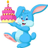 Rabbit cartoon with birthday cake Royalty Free Stock Images