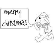 Rabbit Cartoon Christmas Illustration BW Royalty Free Stock Image