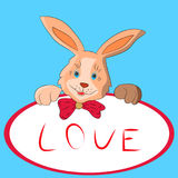 Rabbit cartoon with a frame in hand, on a white background. Royalty Free Stock Photo