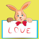 Rabbit cartoon with a frame in hand, on a white background. Royalty Free Stock Image