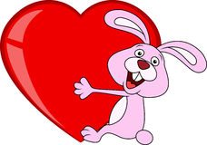 Rabbit cartoon with love heart Stock Images