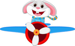 Rabbit cartoon riding a plane Stock Images
