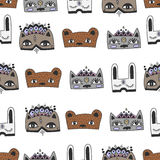Rabbit, cat and bear kids doodle masks seamless pattern Royalty Free Stock Photos
