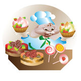 Rabbit chef with cake Royalty Free Stock Images