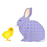 Rabbit and chick Royalty Free Stock Images