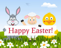 Rabbit, Chick, Lamb with Happy Easter Sign Royalty Free Stock Images