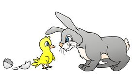 Rabbit and chicklet. Illustration of a chicklet and a rabbit Royalty Free Stock Images