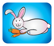 Rabbit children's drawing. Gray rabbit want to eat two fresh carrots Royalty Free Stock Photo