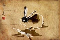 Rabbit chinese brush painting, sumie stock photography