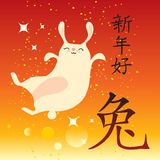 Rabbit chinese new year. Year of the Rabbit and Happy New Year chinese writing with happy bunny on red background