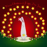 Rabbit  in the Christmas decorations. Illustration of rabbit in the Christmas decorations. Garland of stars. 2015 New Year Stock Photos