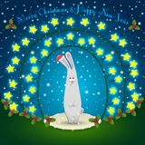 Rabbit  in the Christmas decorations. Illustration of rabbit in the Christmas decorations. Garland of stars. 2015 New Year Stock Images